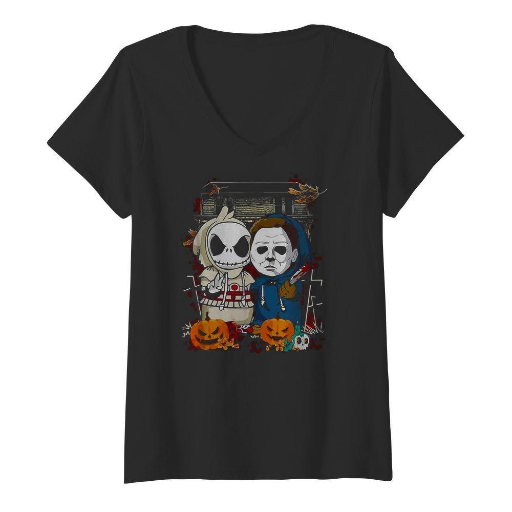 Baby Jack Skellington Michael Myers Halloween V-neck T-shirt