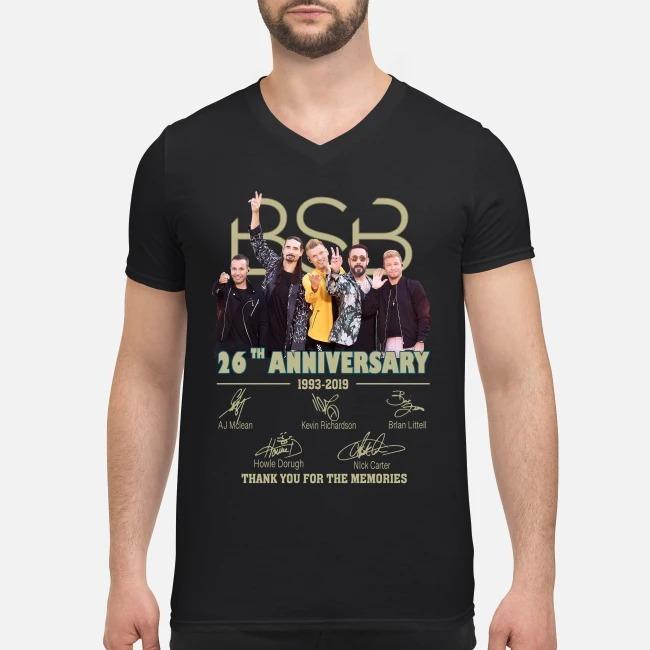 Backstreet Boys BSB 26th anniversary 1993-2019 signatures V-neck T-shirt