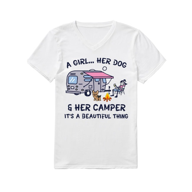 Camping a girl her dog and her camper it's beautiful thing V-neck T-shirt