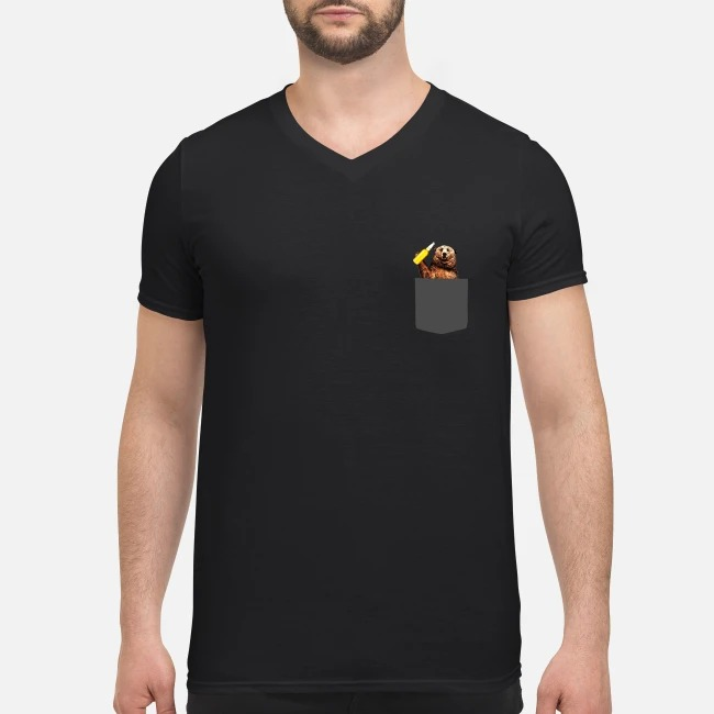 Camping Bear In Pocket V-neck T-shirt