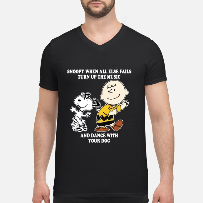 Charlie Brown and Snoopy when all else fails turn up the music and dance V-neck T-shirt