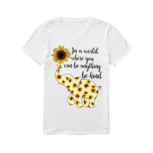 Elephant sunflower in a world where you can be anything be kind V-neck T-shirt