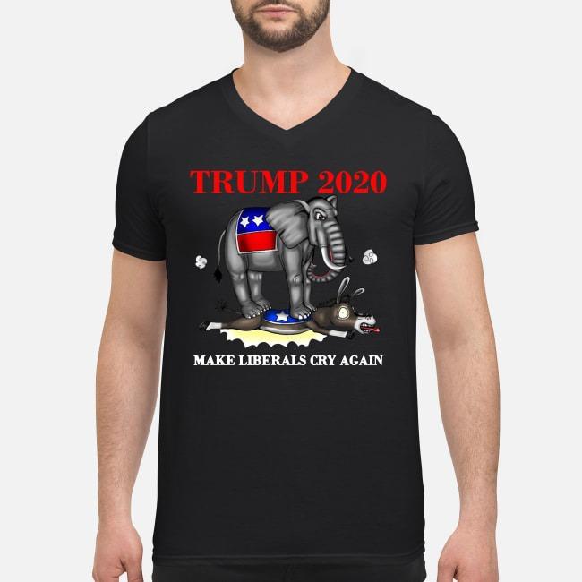 Elephant Trump 2020 make Liberals cry again V-neck T-shirt