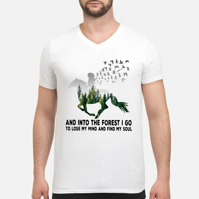 Girl riding horse into the forest I go to lose my mind and find my soul V-neck T-shirt
