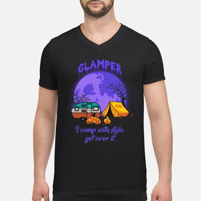 Glamper I Camp With Style Get Over It Halloween V-neck T-shirt