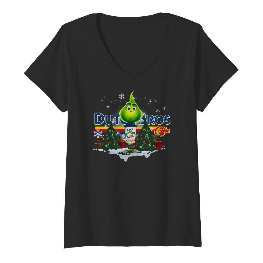 Grinch hug Dutch Bros Coffee Christmas V-neck T-shirt