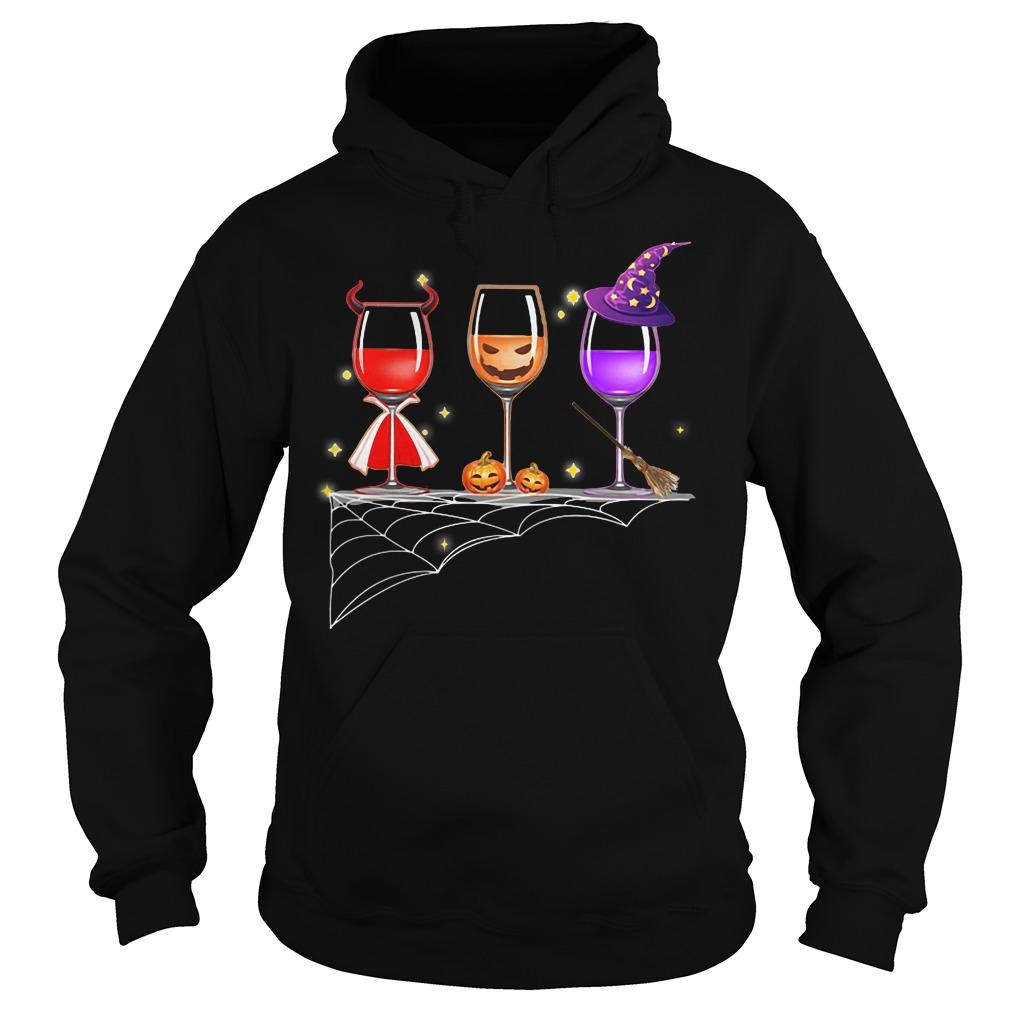 Halloween glasses wine gown pumpkin witch hat shirt