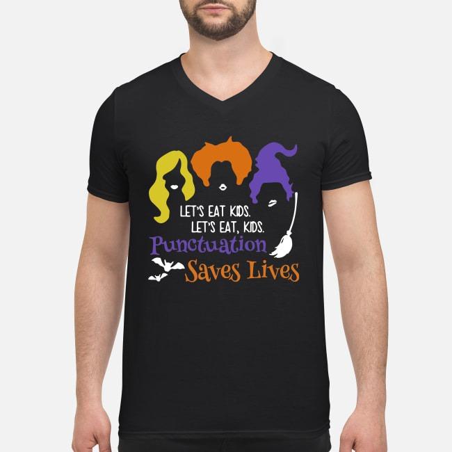 Hocus Pocus lets eat kids punctuation saves lives V-neck T-shirt