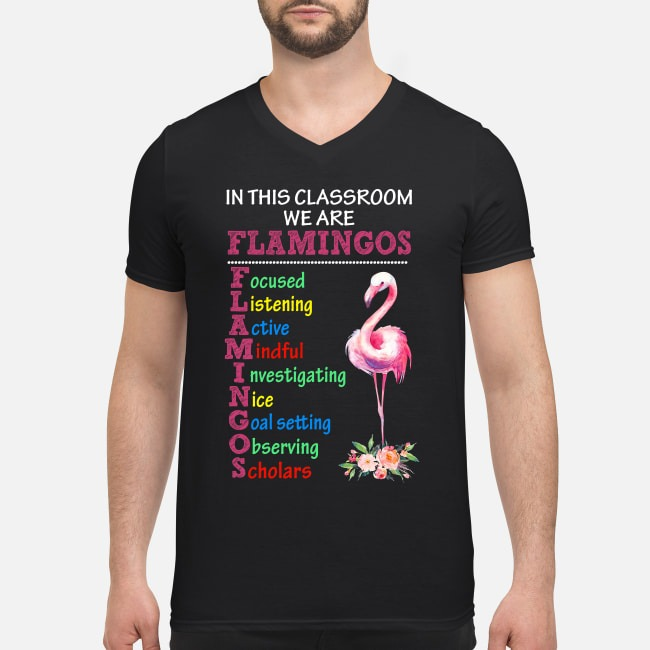 In this classroom we are Flamingos focused listening active mindful V-neck T-shirt