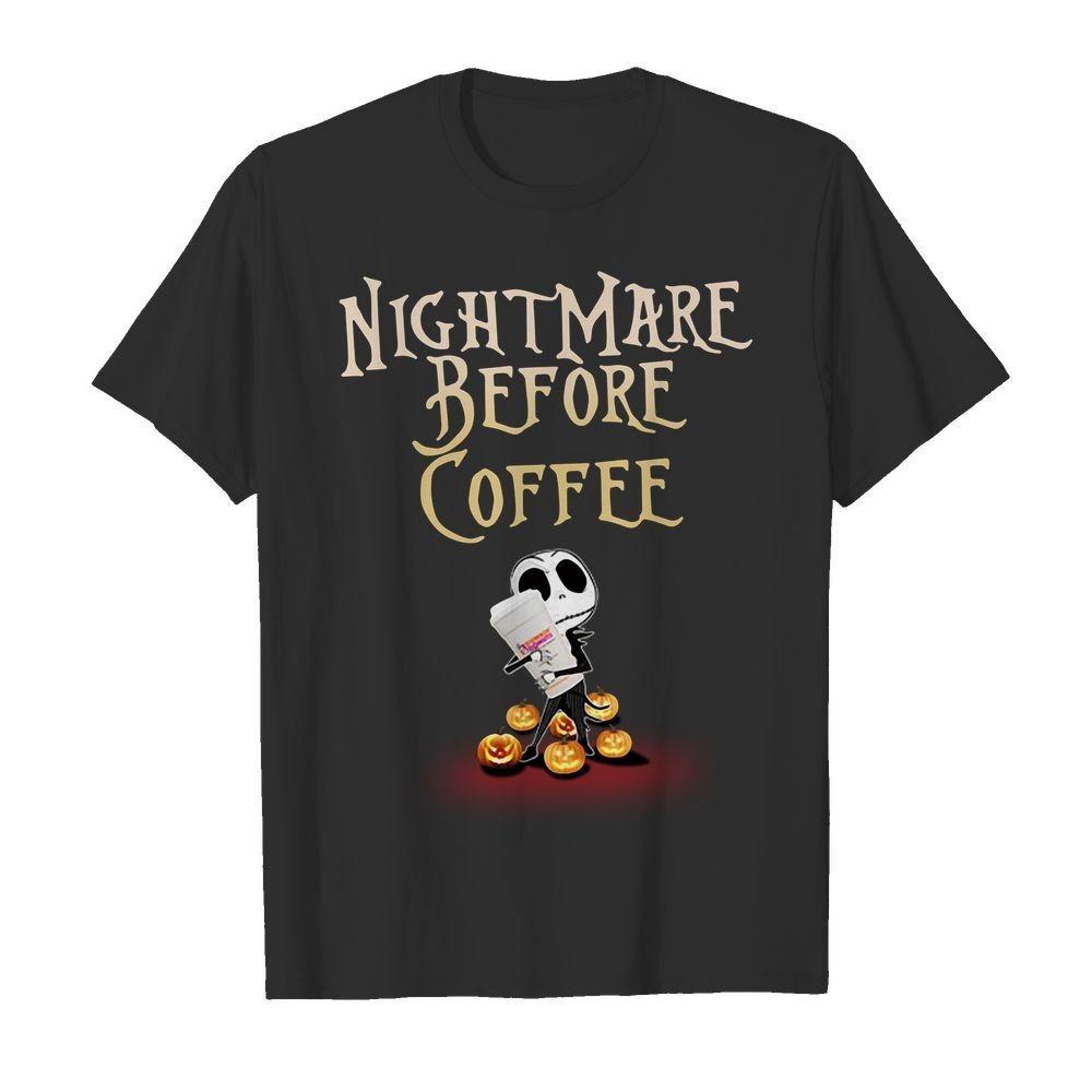 Jack Skellington hug Dunkin Donuts nightmare before coffee Halloween shirt