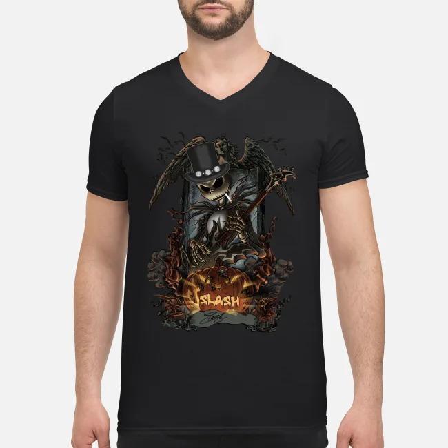 Jack Skellington Smoking Slash Pumpkin Signature Halloween V-neck T-shirt