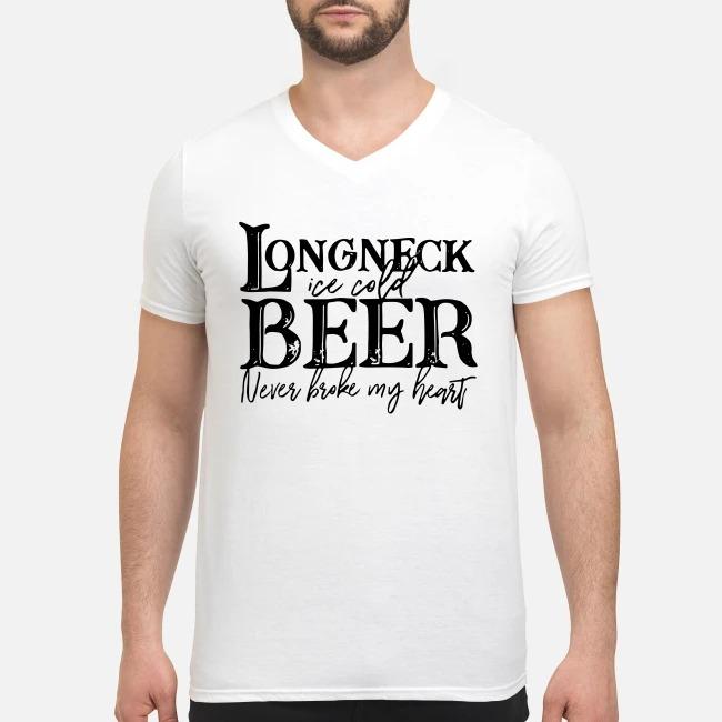Longneck ice cold beer never broke my heart V-neck T-shirt