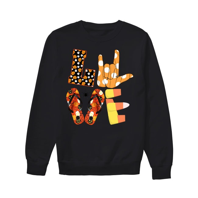 Love ASL Boo and flip flop Halloween Sweater