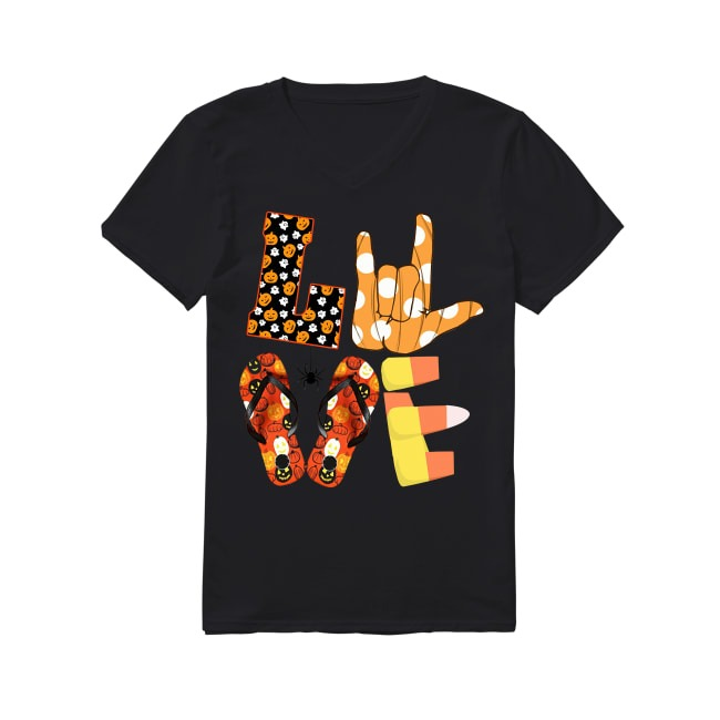 Love ASL Boo and flip flop Halloween V-neck T-shirt