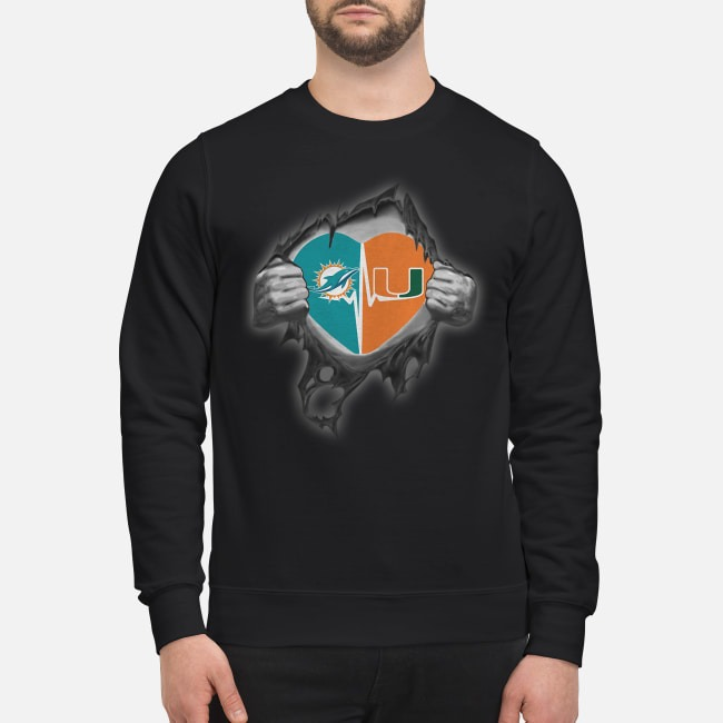 Miami Dolphins and Miami Hurricanes It's In My Heart Inside Me Sweater