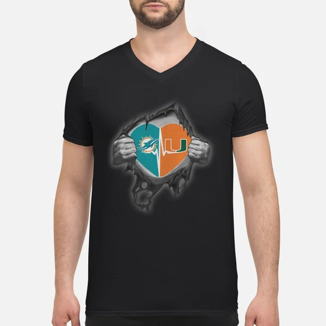 Miami Dolphins and Miami Hurricanes It's In My Heart Inside Me V-neck T-shirt