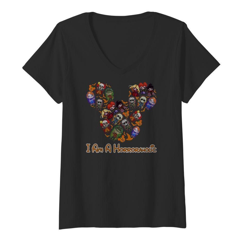 Mickey Mouse I'm a horror aholic V-neck T-shirt