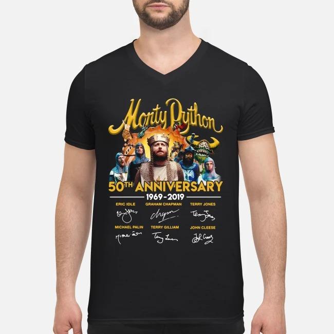 Monty Python 50th anniversary 1969-2019 signatures V-neck T-shirt