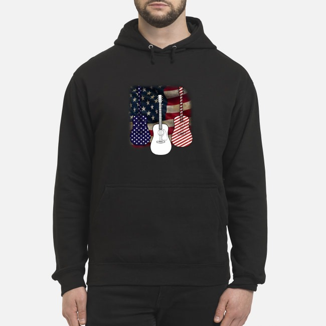 Patriotic red white blue guitar 4th of July independence day Hoodie