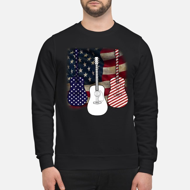 Patriotic red white blue guitar 4th of July independence day Sweater
