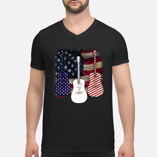 Patriotic red white blue guitar 4th of July independence day V-neck T-shirt