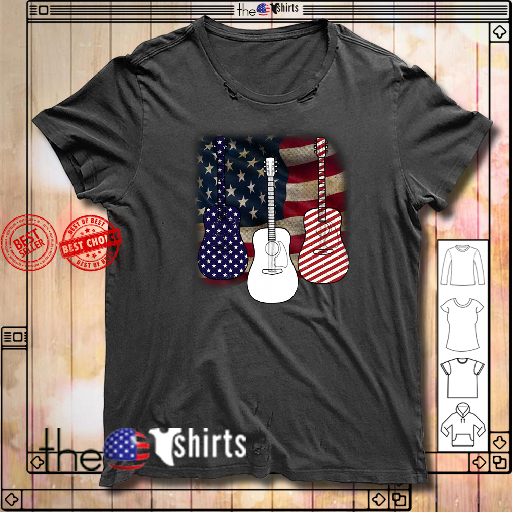 Patriotic red white blue guitar 4th of July independence day shirt