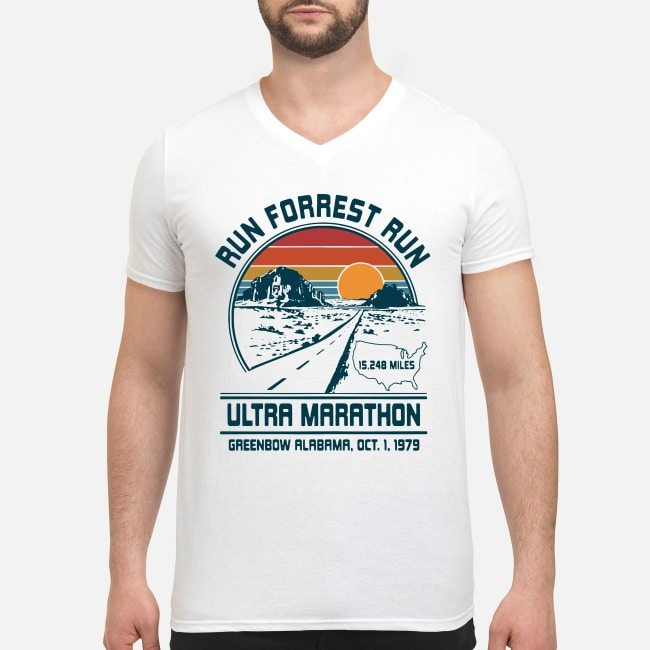 Run Forrest Run Ultra Marathon Greenbow Alabama Oct 1 1979 V-neck T-shirt
