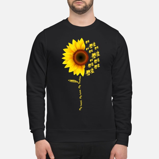 Sunflower My Heart My Hero My Trucker Sweater