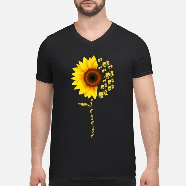 Sunflower My Heart My Hero My Trucker V-neck T-shirt