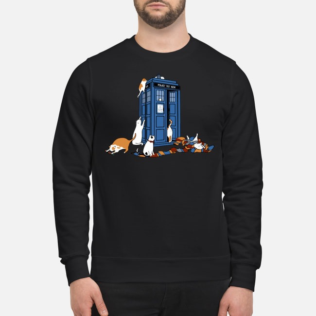 Tardis Cats Around Police Box Doctor Who Sweater