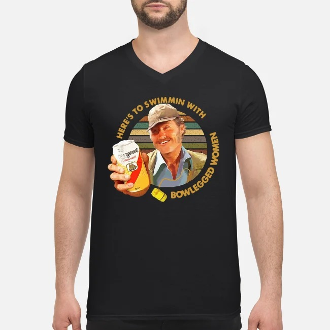 Vintage Quint Jaws Here's To Swimmin With Bowlegged Women V-neck T-shirt