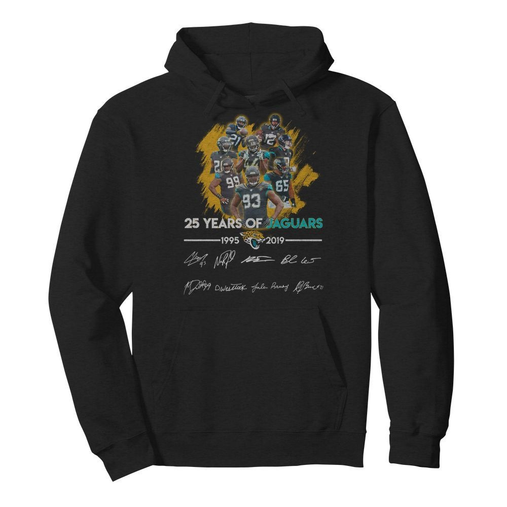 25 Years of Jacksonville Jaguars 1995-2019 signatures Hoodie