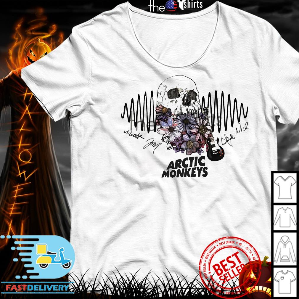 Floral Skull guitar Arctic Monkeys signature shirt