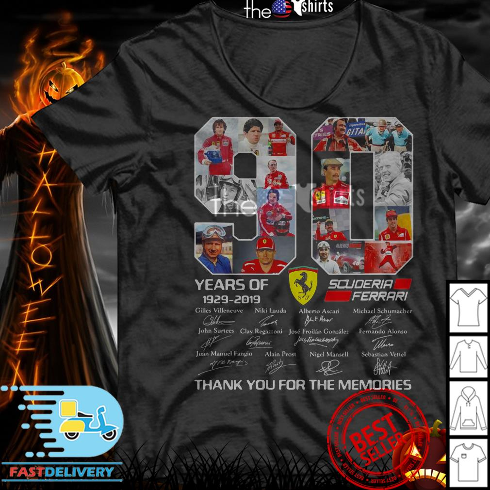 90 Years of Scuderia Ferrari 1929-2019 thank you for the memories signatures shirt