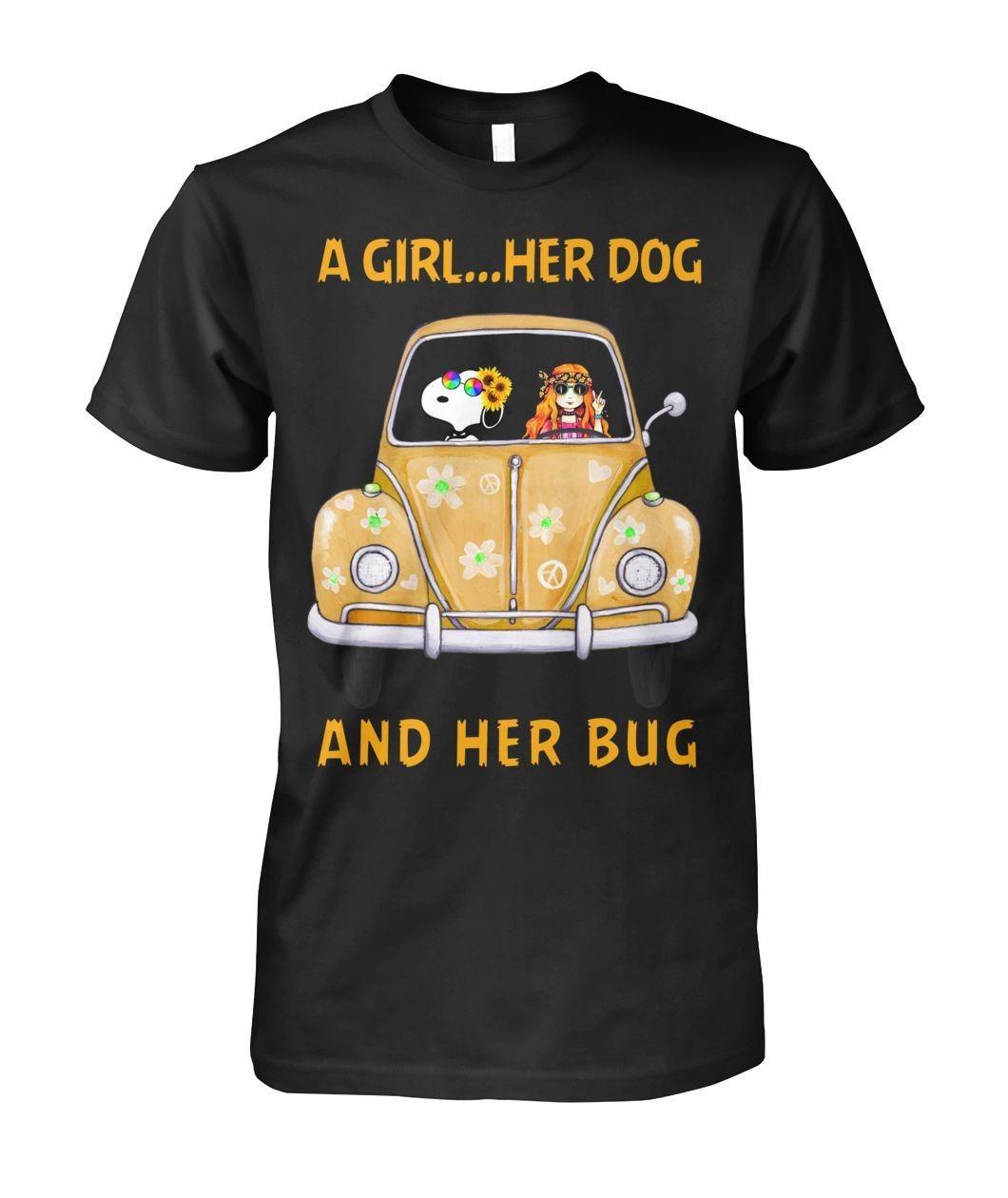 A girl her dog and her bug shirt