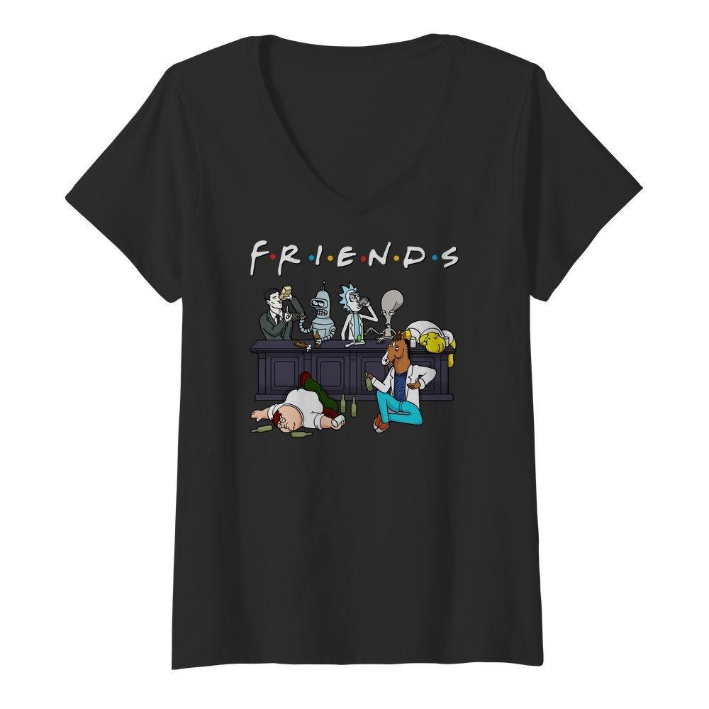 Bender Homer Simpson Rick Bojack Horseman Friends V-neck T-shirt
