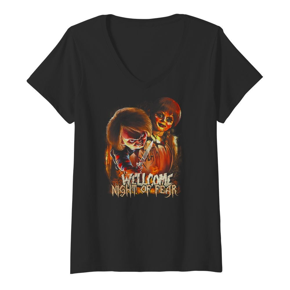Chucky and Annabelle welcome night of fear V-neck T-shirt