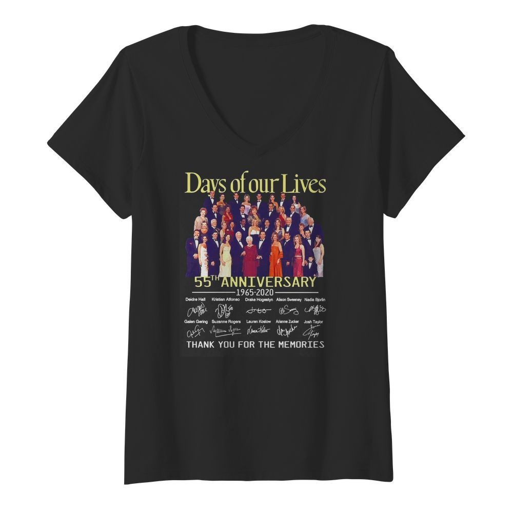 Day of our lives 55th Anniversary 1965-2020 signatures V-neck T-shirt