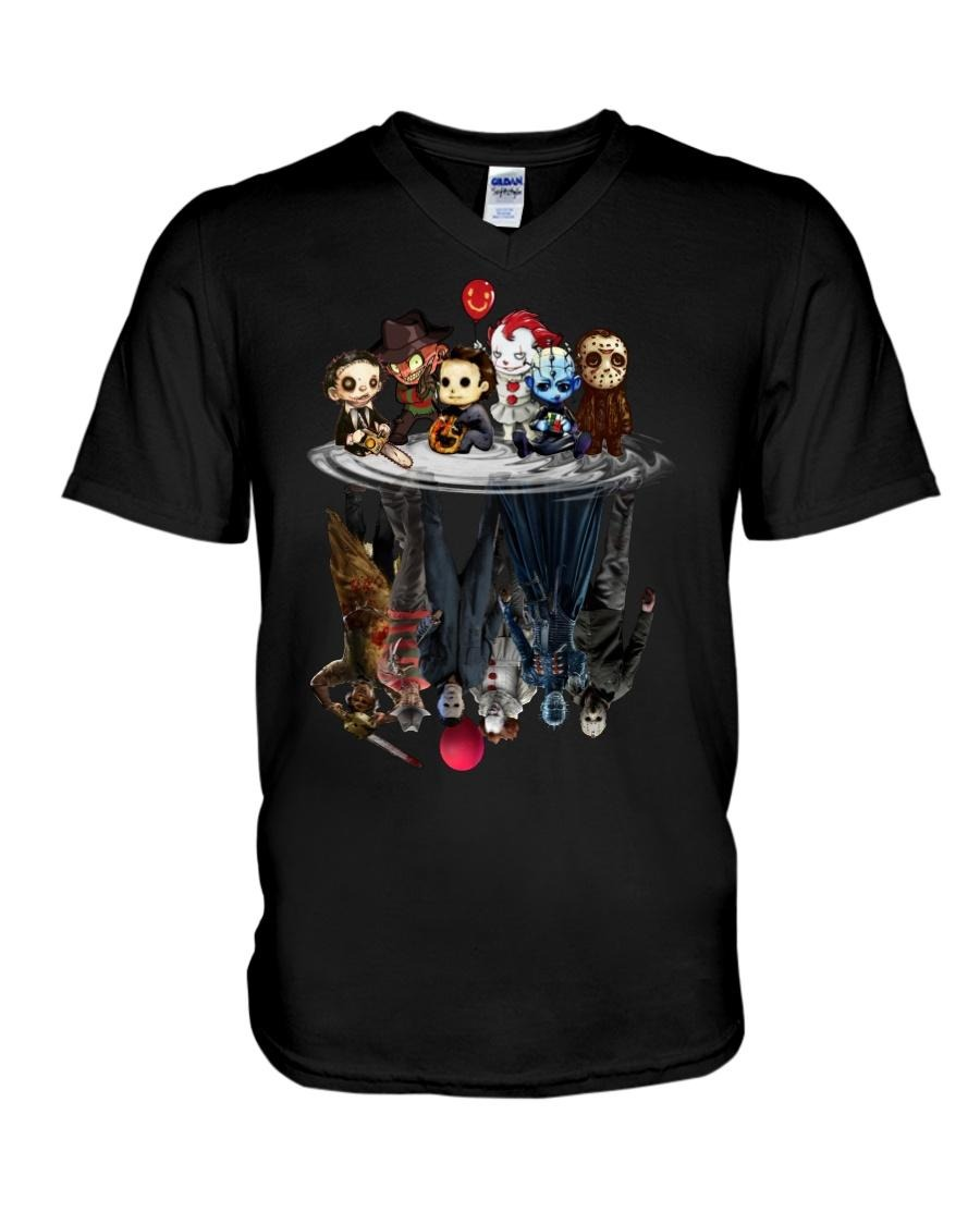 Horror movie characters water mirror reflection V-neck T-shirt