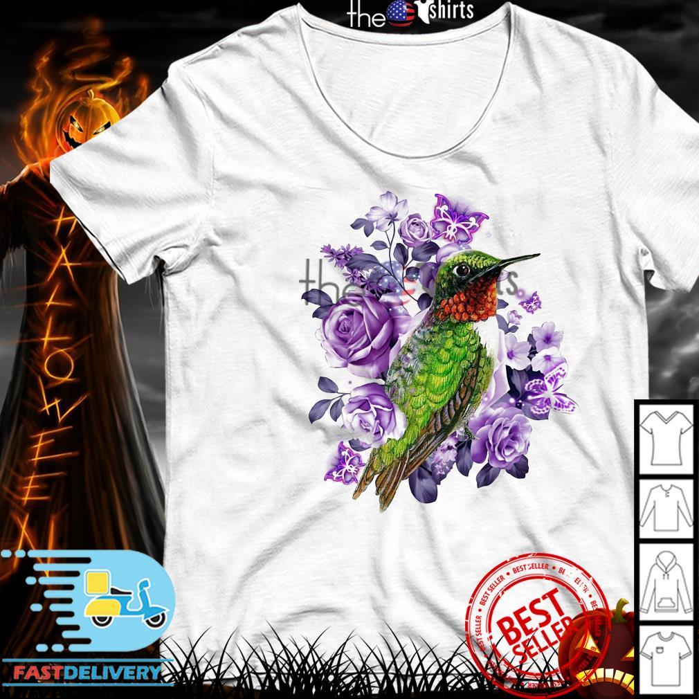 Hummingbird and purple rose flower shirt