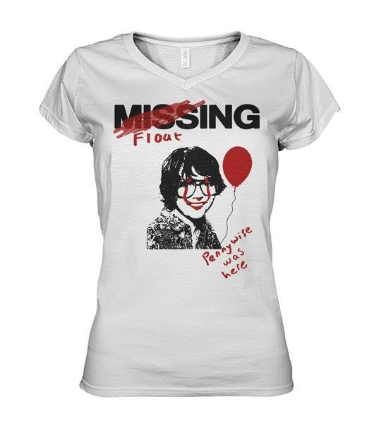 IT 2017 Movie Missing Richie Tozier Pennywise was here V-neck T-shirt