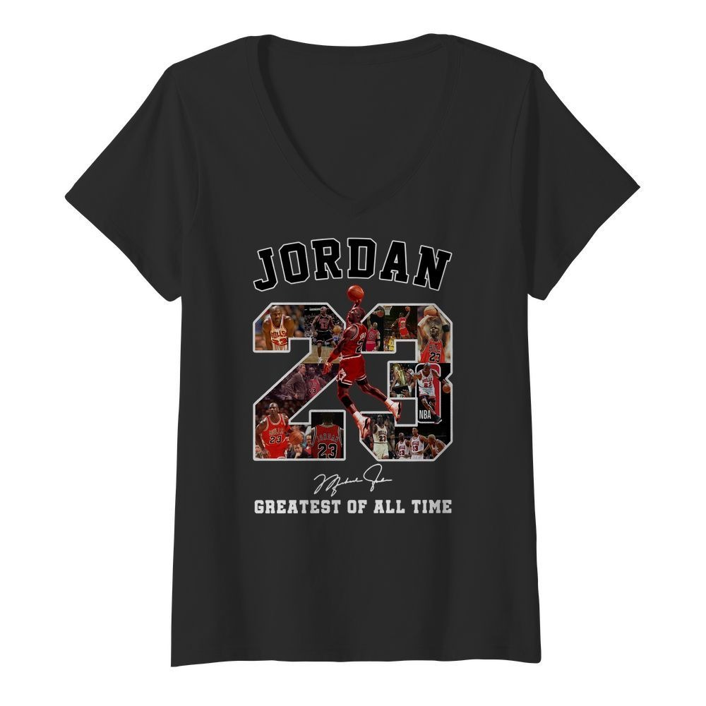Michael Jordan 23 signature greatest of all time V-neck T-shirt