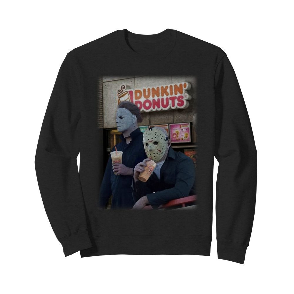Michael Myers Jason Voorhees drink Dunkin' Donuts Sweater