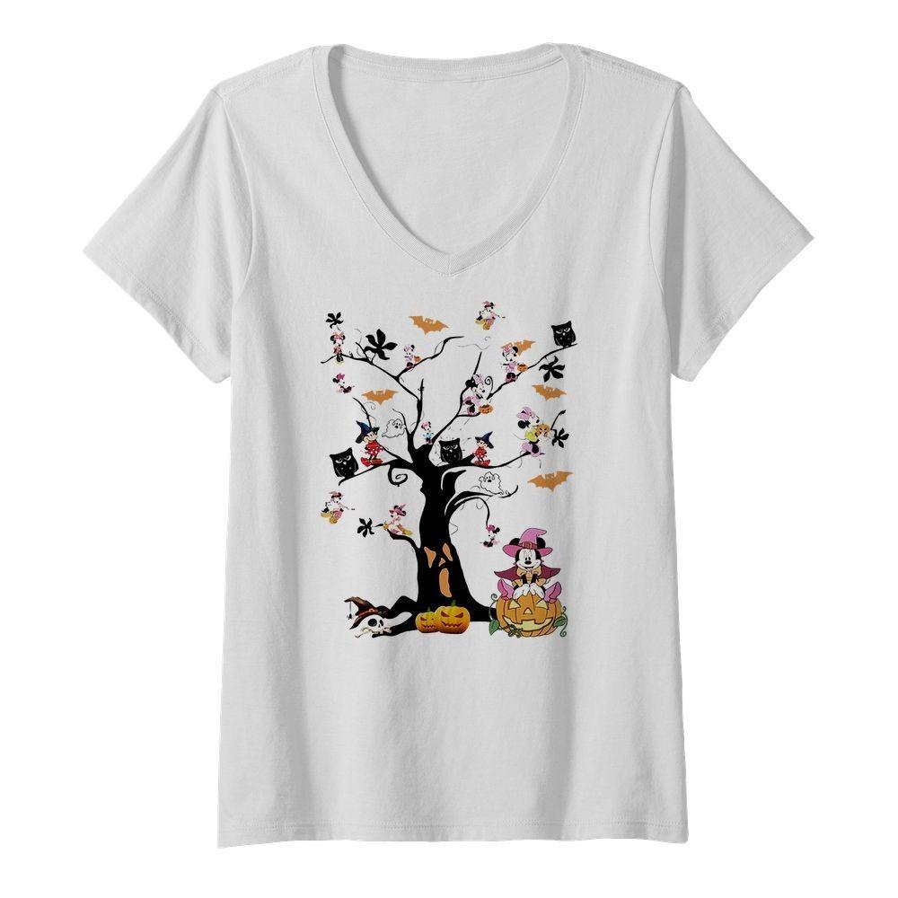 Mickey Mouse tree Halloween V-neck T-shirt