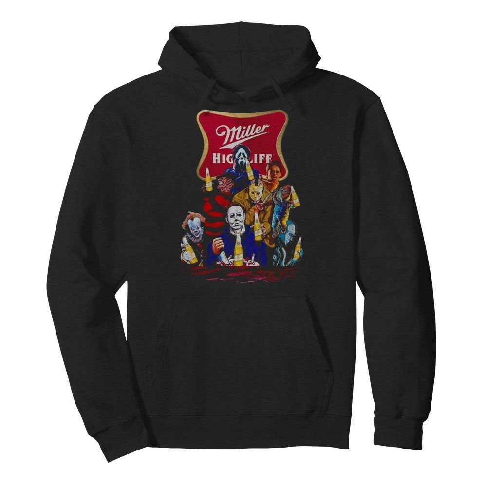 Miller High Life horror characters movie Hoodie