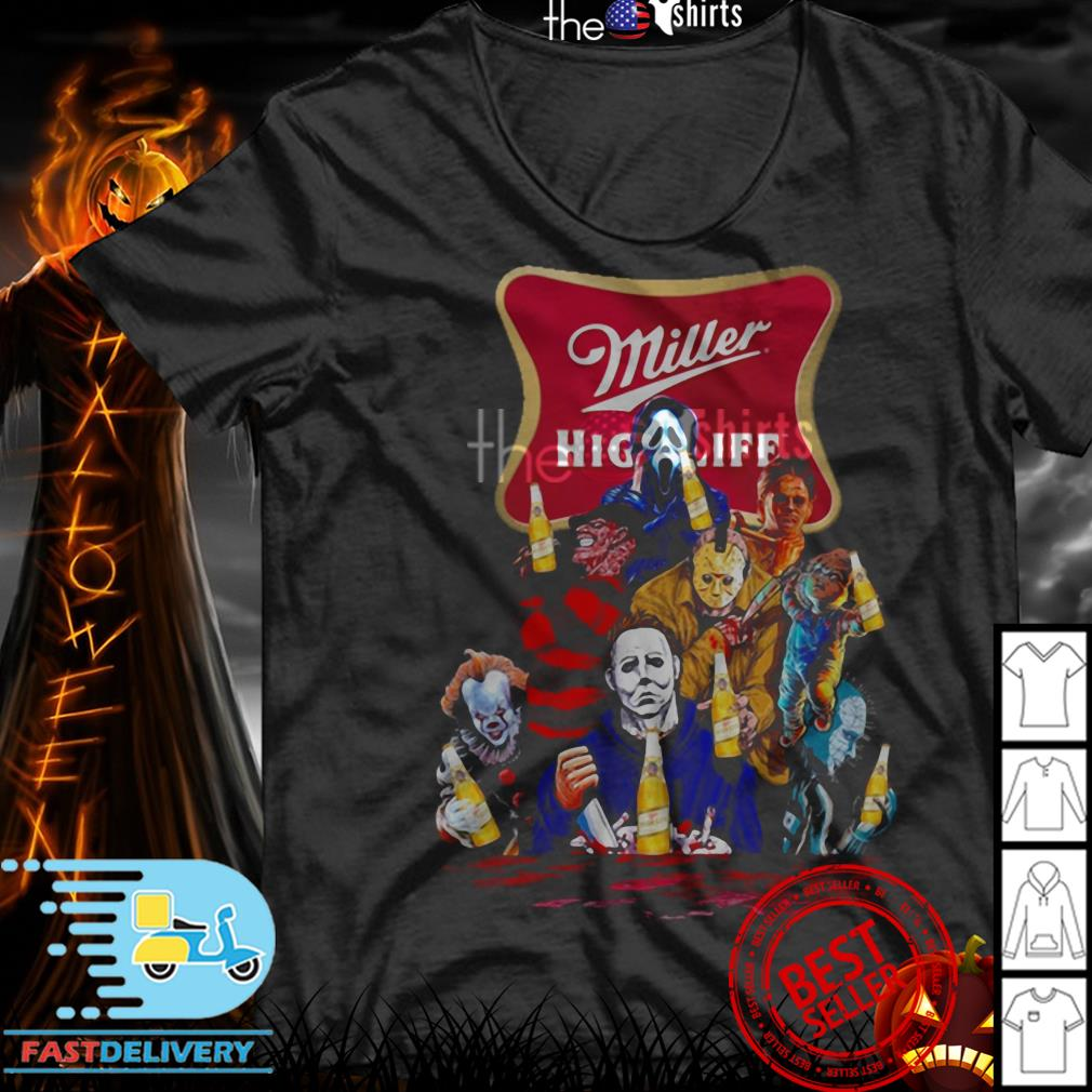 Miller High Life horror characters movie shirt