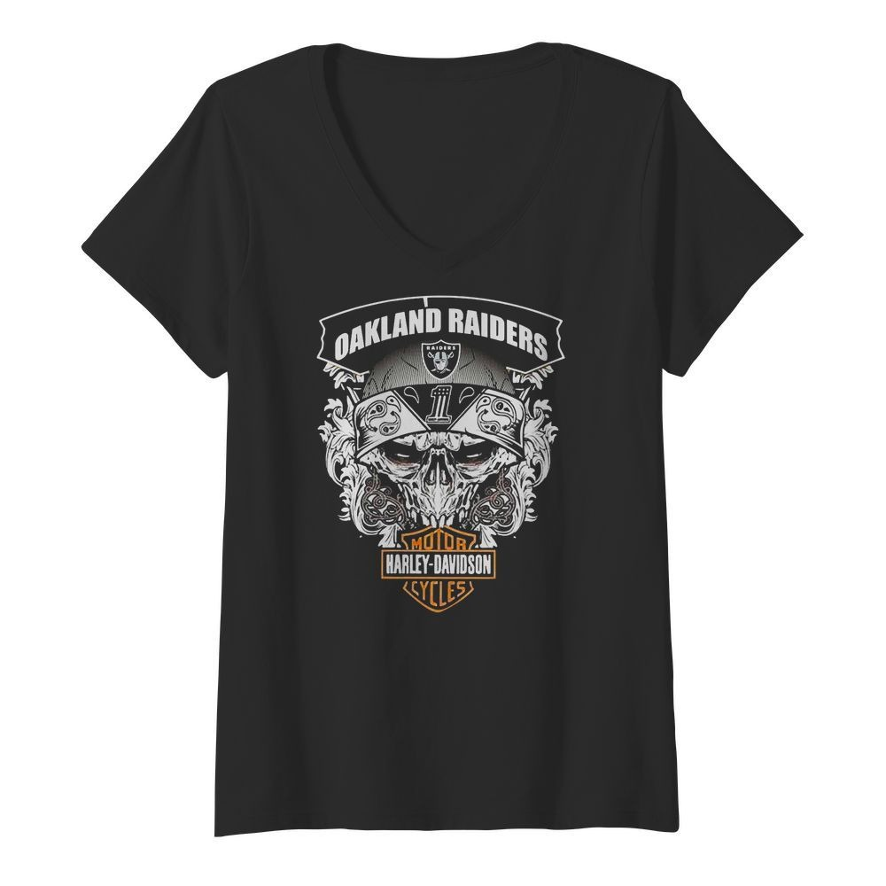 Oakland Raiders Football and Motorcycles Harley-Davidson V-neck T-shirt