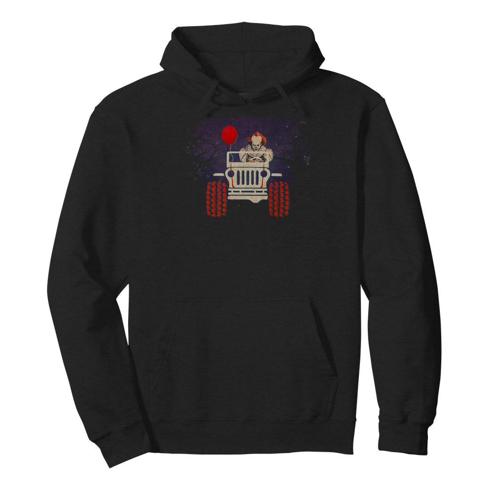 Pennywise riding Jeep Halloween Hoodie