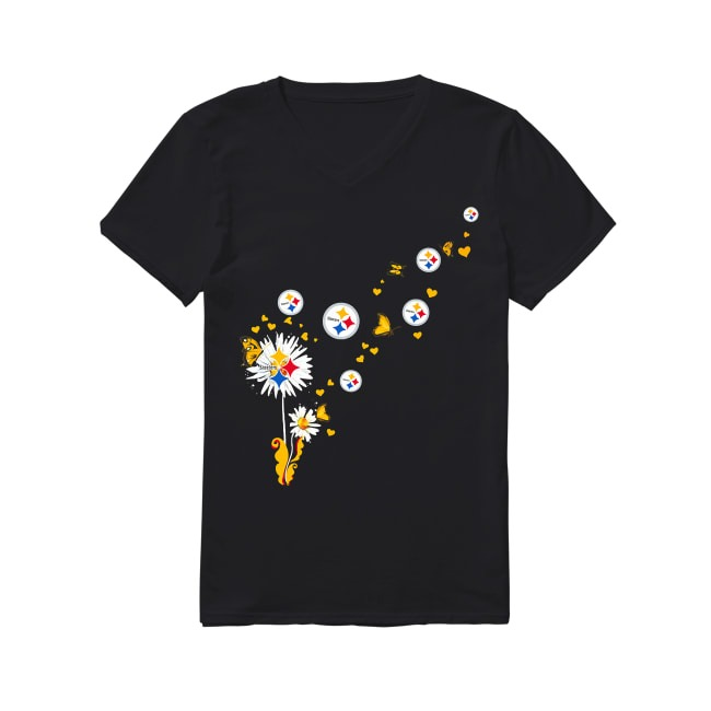 Pittsburgh Steelers dandelion flower V-neck T-shirt