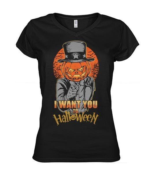 Pumpkin head I want you to Halloween V-neck T-shirt